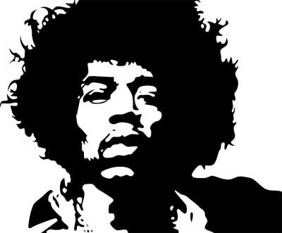 Jimi Hendrix Negativbild