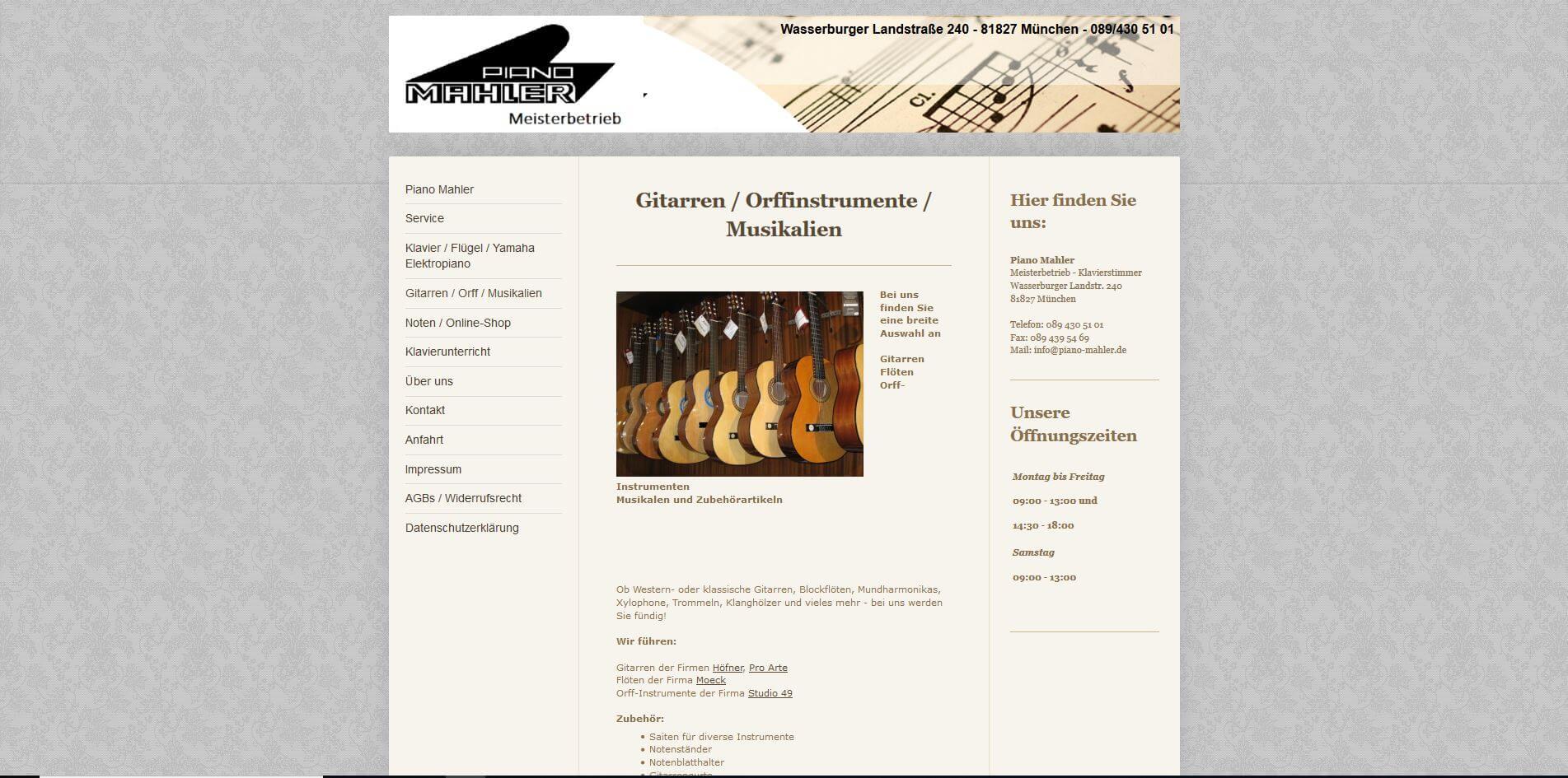 Gitarrenladen München Piano Mahler
